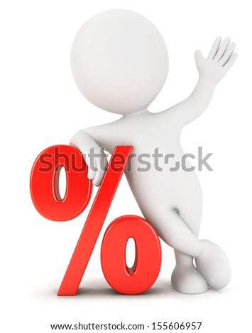 3d white people percent, isolated white background, 3d image