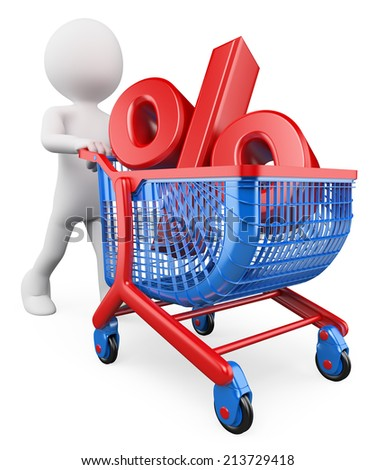 3d white people. Percent rate trolley concept. Discount. Financing. Sales. Isolated white background. - stock photo