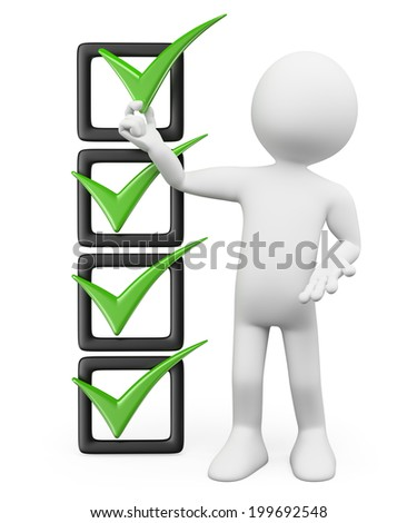 3d white people. Placing a tick in the check list. Isolated white background.  - stock photo