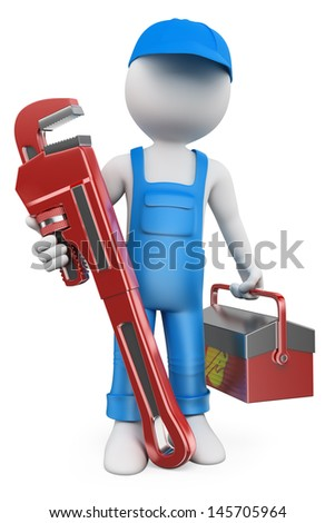 3d white people. Plumber with pipe wrench and tool box. Isolated white background - stock photo
