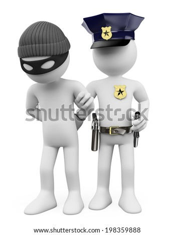 3d white people. Police arresting a thief. Isolated white background. - stock photo