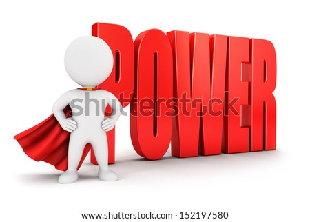 3d white people power, isolated white background, 3d image - stock photo
