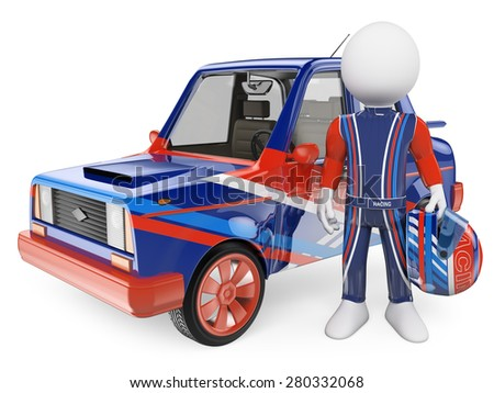3d white people.  Racing driver with his car. Isolated white background.  - stock photo
