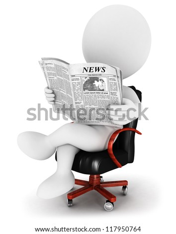 3d white people reading a newspaper, sitting on a leather chair, isolated white background, 3d image