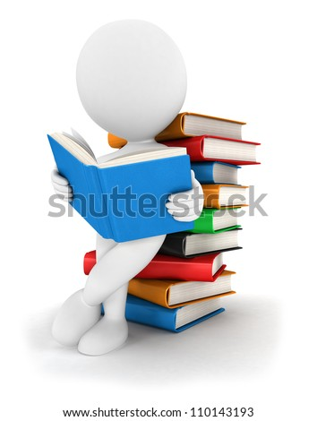 3d white people reads a book, leaning back against a pile of books, isolated white background, 3d image