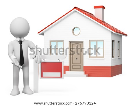 3d white people. Real estate agent leaning on a blank sign with a house behind. For sale. Isolated white background. - stock photo