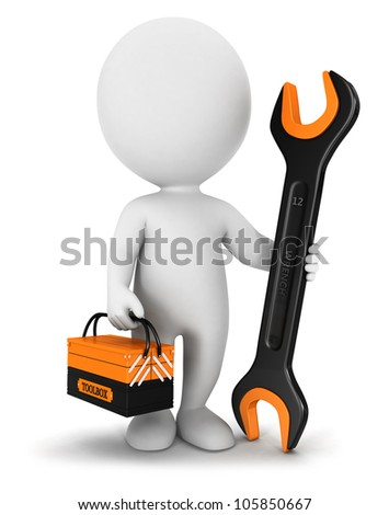 3d white people repairer with a wrench and a toolbox, isolated white background, 3d image