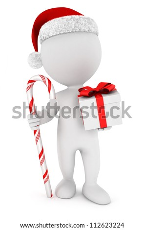 3d white people santa claus with a gift and a candy cane, isolated white background, 3d image - stock photo