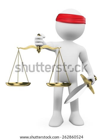 3d white people. Scales of justice. Isolated white background.  - stock photo