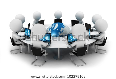 3d white people seated on chair and connected with computer around a blue world behind a round table, isolated white background, 3d image - stock photo