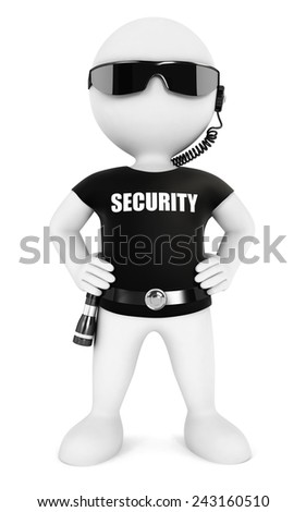 3d white people security guard, isolated white background, 3d image - stock photo