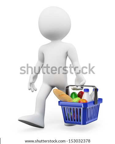 3d white people. Shopping healthy food at the supermarket. Isolated white background.  - stock photo