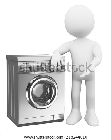 3d white people. Silver modern Washing Machine. Isolated white background.