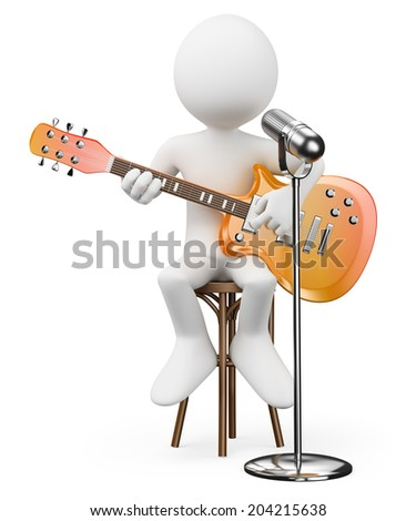 3d white people. Singer guitarist. Rock and roll star. Isolated white background. - stock photo