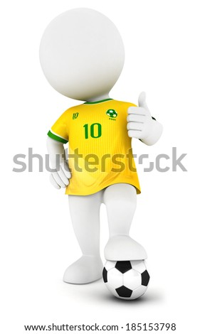 3d white people soccer player with yellow jersey, isolated white background, 3d image - stock photo