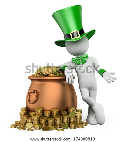 3d white people. St patricks day. Leprechaun with pot with gold coins. Isolated white background.  - stock photo
