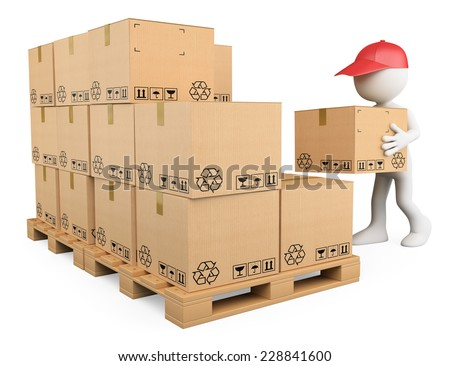 3d white people. Stock boy stacking boxes on a pallet. Storekeeper. Isolated white background.  - stock photo