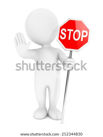 3d white people stop sign, 3d image - stock photo