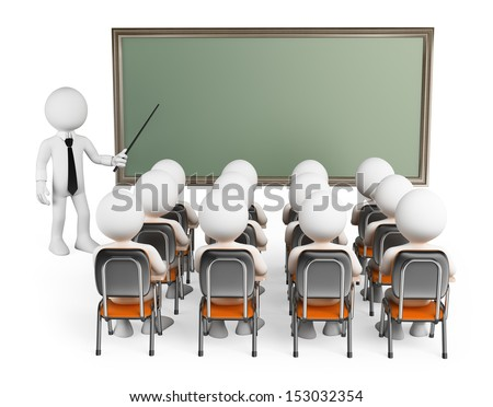 3d white people. Students in class with teacher and blank chalkboard. Isolated white background.  - stock photo