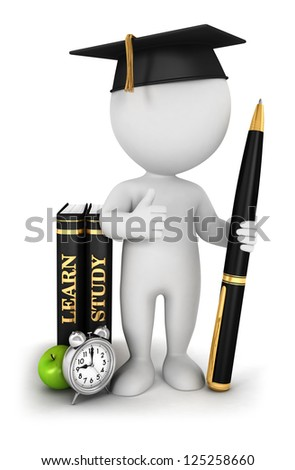 3d white people studious student, isolated white background, 3d image - stock photo