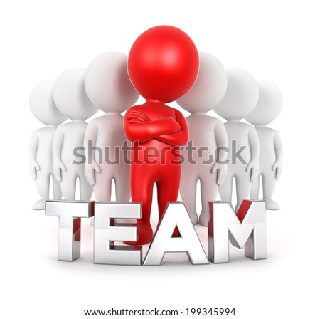 3d white people team with a leader, isolated white background, 3d image - stock photo
