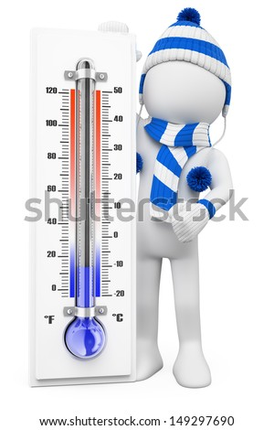 3d white people. Thermometer in winter cold days. Isolated white background - stock photo