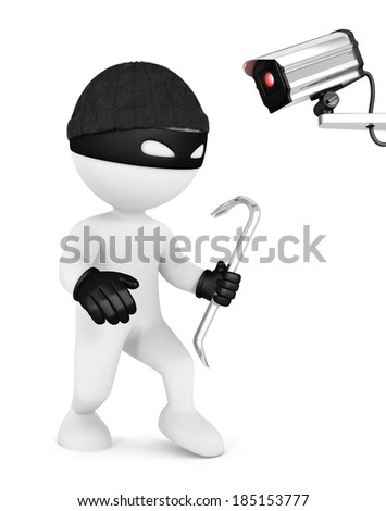 3d white people thief and security camera, isolated white background, 3d image
