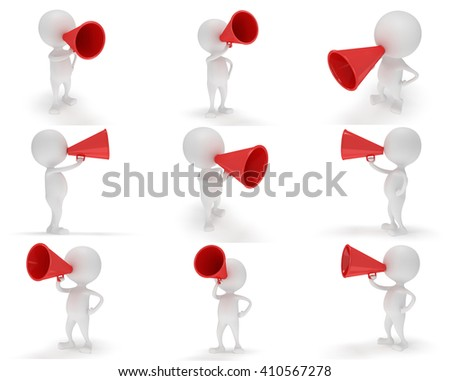 3d white people with a megaphon. Man with red loudspeaker. 3d render isolated on white background - stock photo