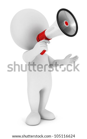 3d white people with a megaphone, isolated white background, 3d image - stock photo