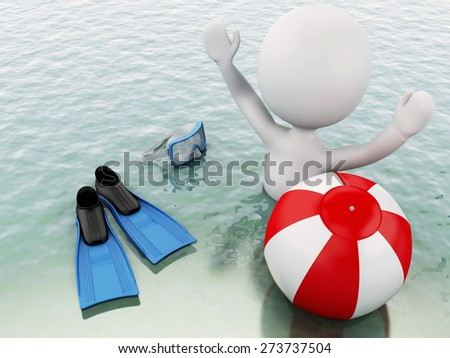 3d white people with beach ball in the sea. Summer vacation concept