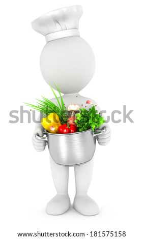 3d white people with cooking pot, isolated white background, 3d image - stock photo