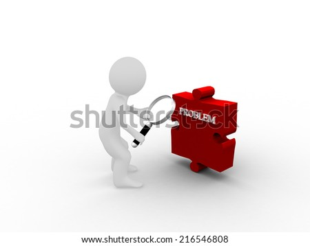 3D white people with magnifier Looking for problems - stock photo
