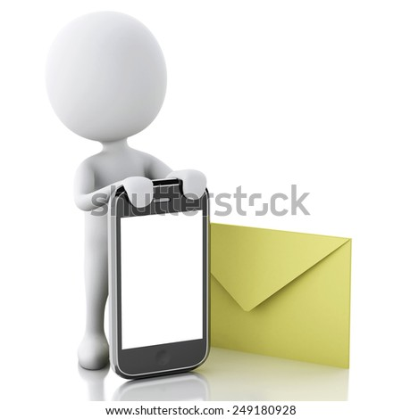 3d white people with mobile phone and sms. Isolated white background. 3d image - stock photo