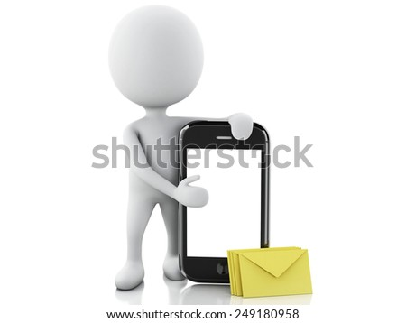 3d white people with mobile phone and sms. Isolated white background. 3d image