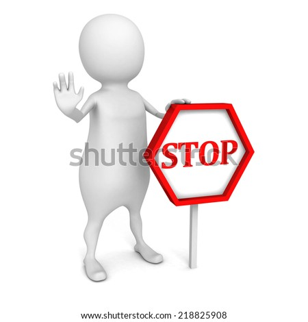 3d white people with STOP sign on white background. 3d render illustration - stock photo
