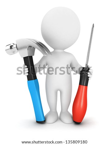 3d white people with tools, isolated white background, 3d image - stock photo
