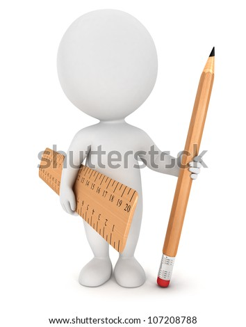 3d white people with wooden pencil and ruler, isolated white background, 3d image - stock photo