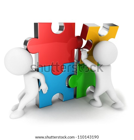3d white people work together, assemble four color puzzle piece, isolated white background, 3d image - stock photo
