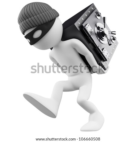 3d white person. Bank robber with a safe on his back. 3d image. Isolated white background. - stock photo