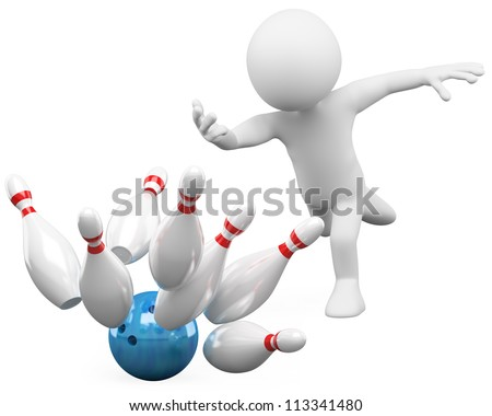 3d white person bowling having fun. 3d image. Isolated white background. - stock photo