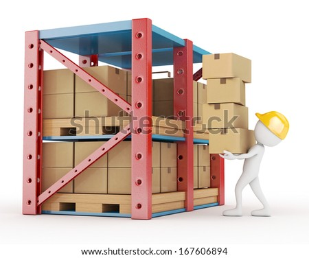 3d white person carries cardboard box at the warehouse - stock photo