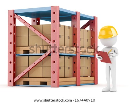 3d white person checking the warehouse - isolated - stock photo