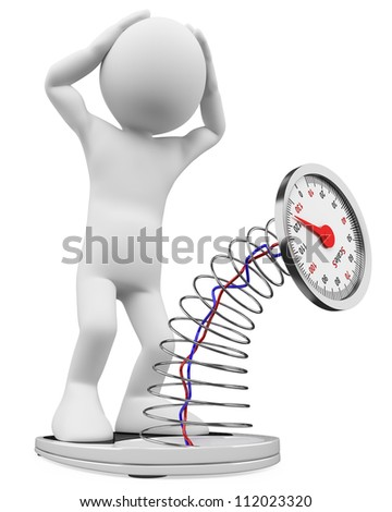 3d white person crushing a scales. 3d image. Isolated white background. - stock photo