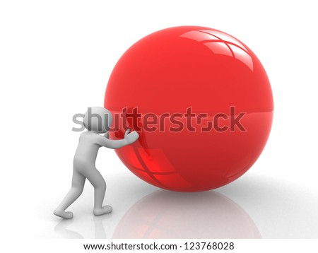 3d white person - human character pushing a blank sphere - 3d render - stock photo