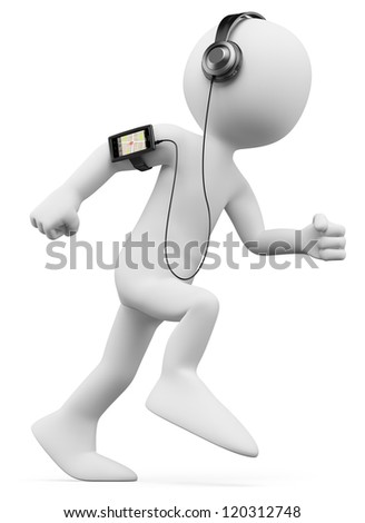 3d white person jogging with a mobile phone with gps and mp3 on the arm. 3d image. Isolated white background. - stock photo