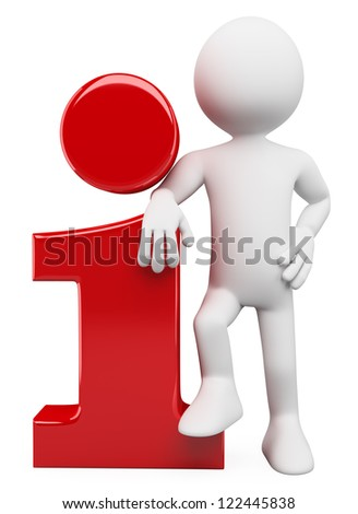 3d white person leaning on an information icon. 3d image. Isolated white background. - stock photo