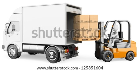 3d white person loading a truck with a forklift truck . 3d image. Isolated white background. - stock photo