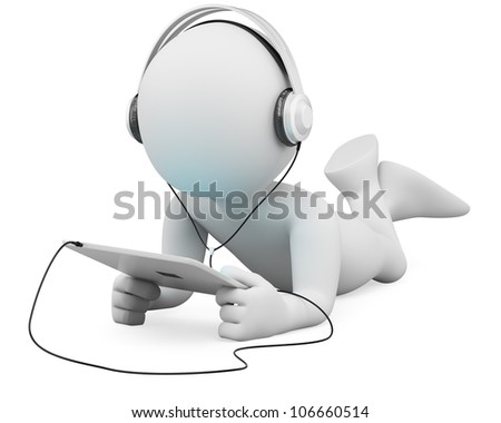 3d white person lying with a tablet and headphones. 3d image. Isolated white background.