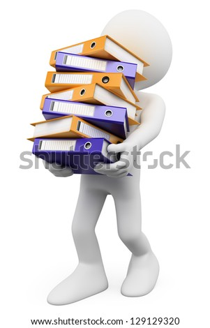 3d white person overworked at the office. 3d image. Isolated white background.