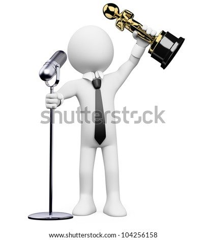 3d white person receiving an award at the  ceremony with a microphone. 3d image. Isolated white background. - stock photo